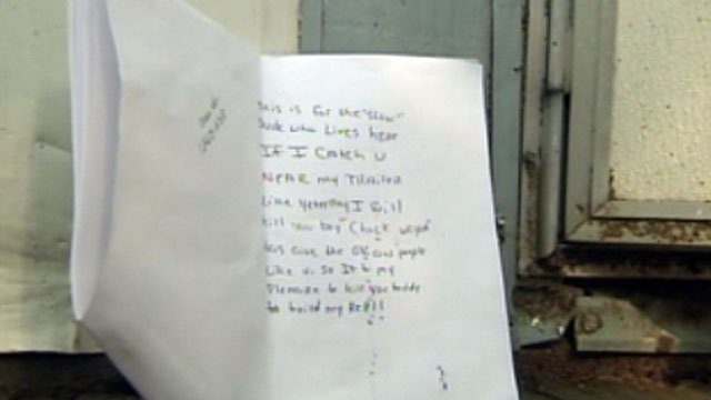 A Spartanburg County man says this note was taped to his door. (May 24, 2012/FOX Carolina)