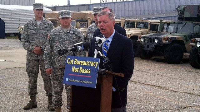 Sen. Lindsey Graham, R-SC, kicks off his budget cuts tour at a National Guard armory in Greenville County. (May 29, 2012/FOX Carolina)