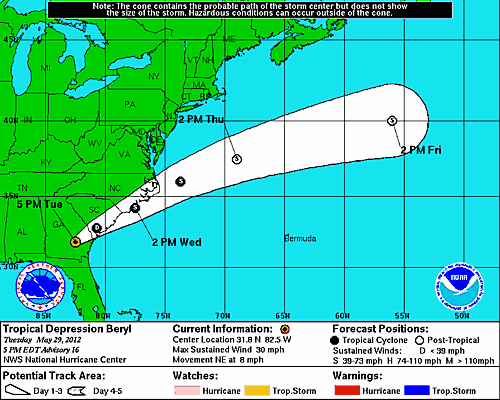 NHC current track for T.D. Beryl
