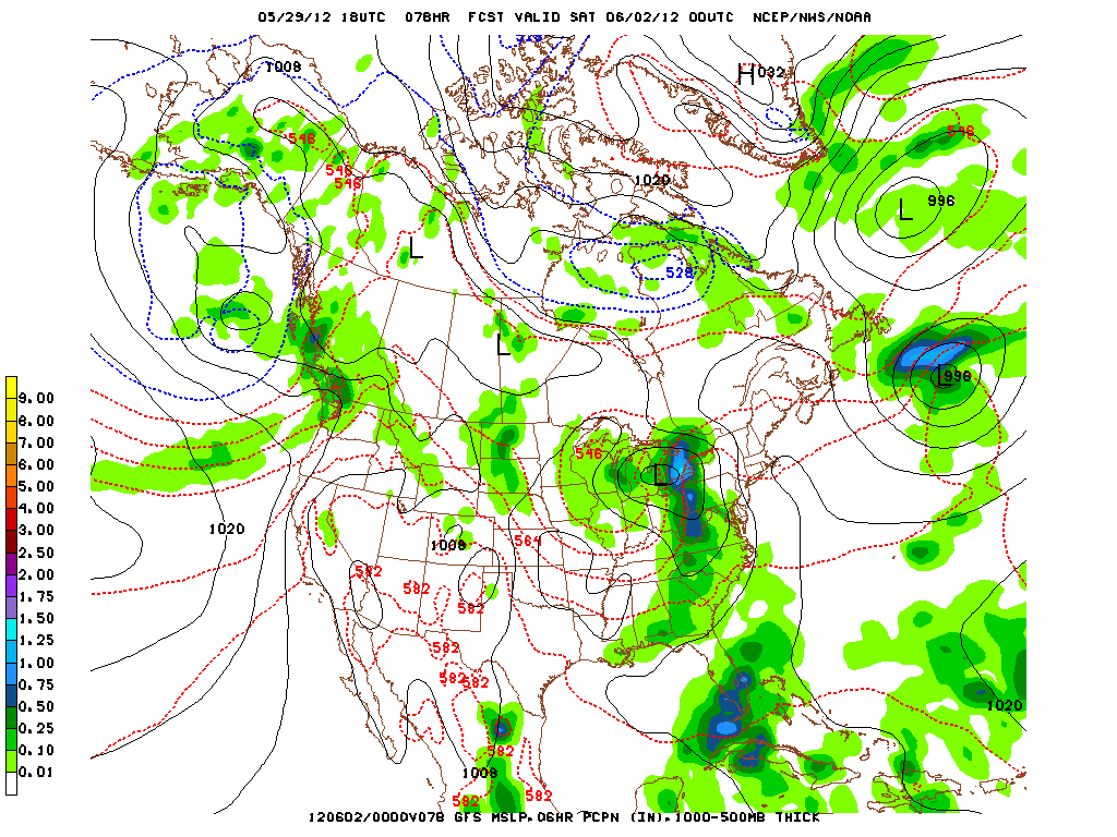 GFS model for Friday evening.