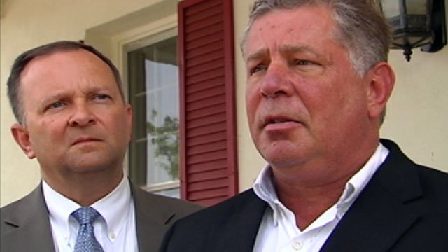 James Bartee (right) and his attorney (left) talk to the media after his bond hearing. (May 31, 2012/FOX Carolina)