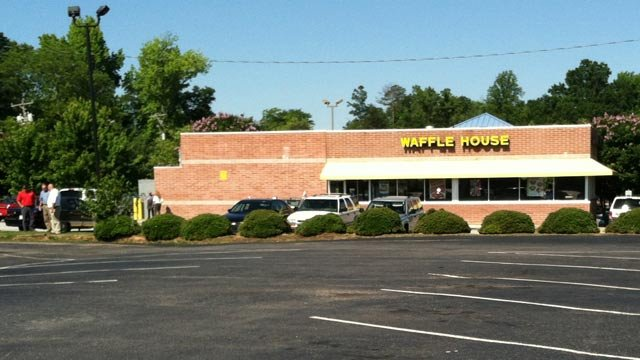 The Waffle House on Warren H. Abernathy Highway in Spartanburg where deputies say a man was shot to death Sunday morning. (June 3, 2012)