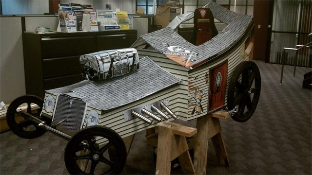 "The ""HouseRod"" soapbox car that the team from Guardian Building Products built to compete in this weekend's race. (Courtesy the House Rods)"