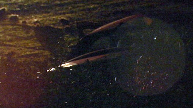 A car crashed through bushes along Pelham Road at Riley Smith Road Friday. (June 8, 2012/FOX Carolina)