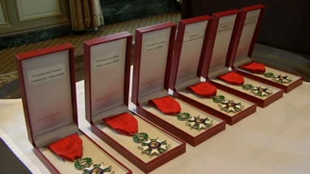 The Legion of Honour medals are lined up on a table before the ceremony. (June 8, 2012/FOX Carolina)