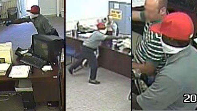 Police released these security camera pictures after a robbery at an Easley loan store. (June 11, 2012/FOX Carolina)