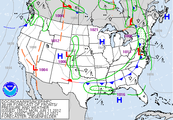 HPC showing a front moving through tomorrow.