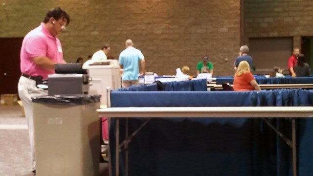 Poll workers count votes in Anderson County. (June 12, 2012/FOX Carolina)