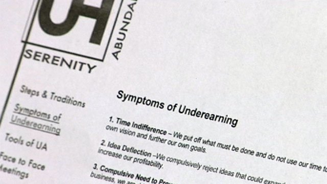 A list of the symptoms of under-earning, according to Underearners Anonymous. (File/FOX Carolina)
