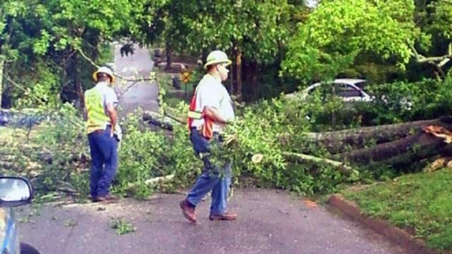 A tree blocking W. Main Street at Woodside Avenue in Greenville. (June 14, 2012/FOX Carolina iWitness)
