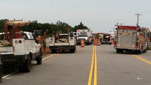Emergency crews at the scene of the construction site accident. (June 14, 2012/FOX Carolina)