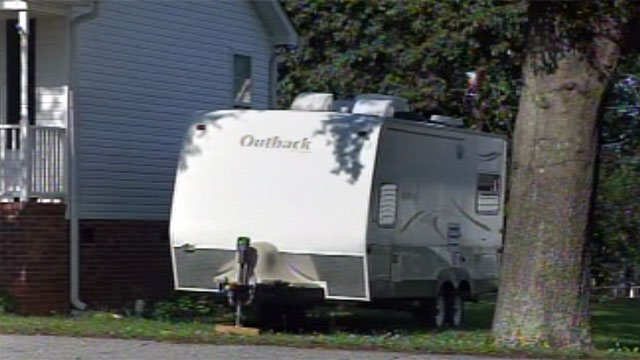 A travel trailer parked outside of a home in Fountain Inn. (June 14, 2012/FOX Carolina)
