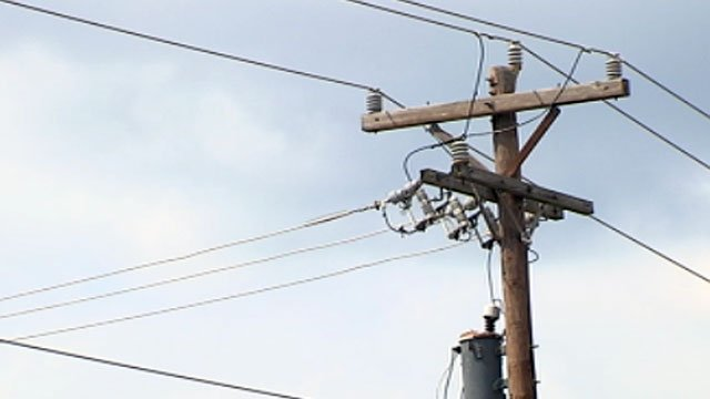 Powerlines hang from a powerpole along Haywood Road in Greenville. (June 15, 2012/FOX Carolina)