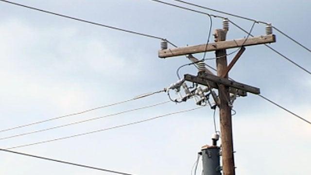 Powerlines hang from a powerpole along Haywood Road in Greenville. (June 15, 2012/FOX Carolina)