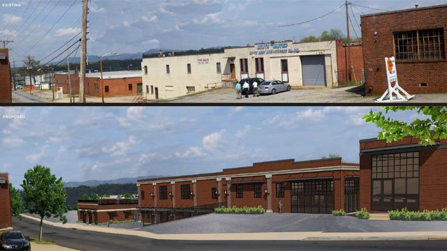 A before-and-after rendering of the Markley Terrace development. (Courtesy: Jenks Inc. Realty)