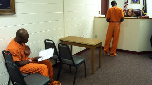 Bobby Wright (seated) and Vincent Missouri (standing) appear before a judge Tuesday. (June 19, 2012/FOX Carolina)