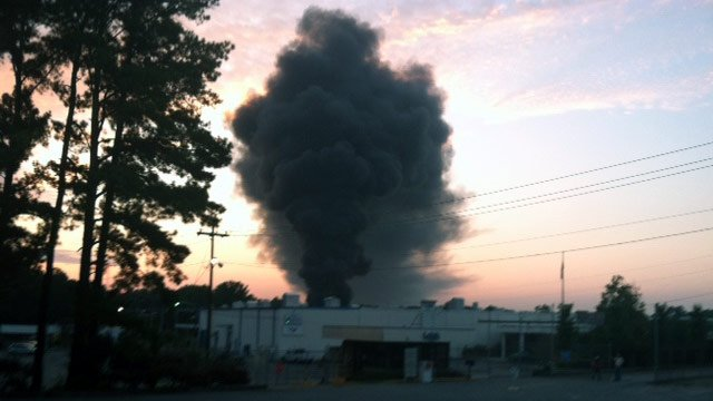 Smoke billows from the Leigh Fibers plant off of Highway 29 in Wellford. (June 22, 2012/FOX Carolina)