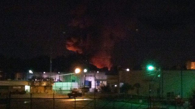 Fire rekindled Sunday at the Leigh Fibers plant. (June 25, 2012/FOX Carolina)