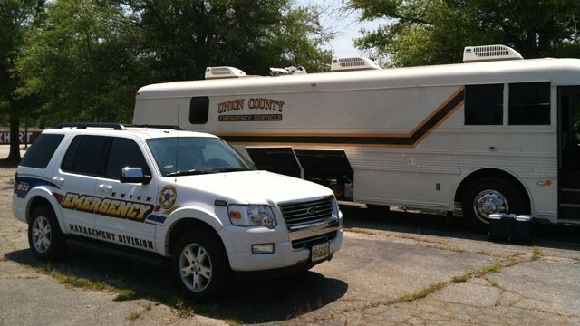 Union Co. deputies have set up an investigative staging area at Lockhart First Baptist Church. (June 22, 2012/FOX Carolina)