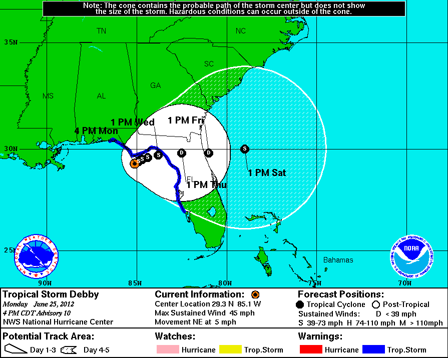 Tropical Storm Debby's path