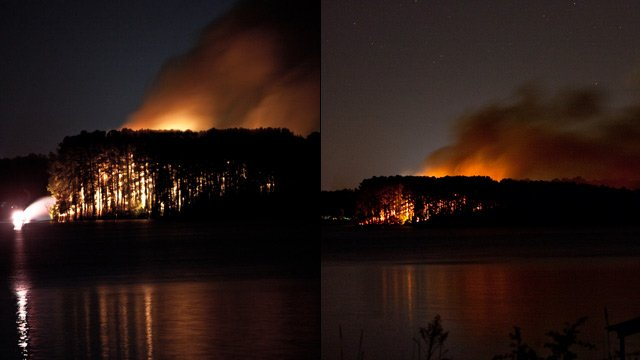 The fire seen from across the lake about 12:30 a.m. Wednesday. (Courtesy iWitness B. McAlister)