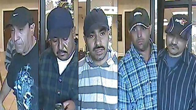 The five men deputies need help identifying. (Henderson Co. Sheriff's Office)