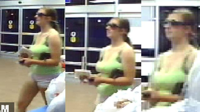Walmart surveillance shows a woman using a stolen credit card, deputies say. (Greenville Co. Sheriff's Office)