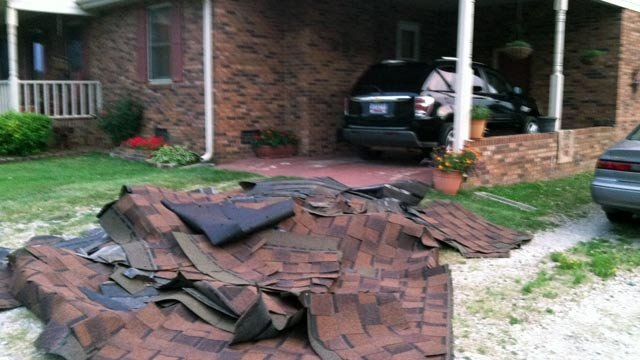 Roof tiles blown off a home in Calhoun Falls. (July 1, 2012/FOX Carolina)