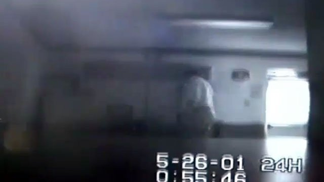 An image from a tape that apparently shows Abbeville County Sheriff Charles Goodwin enter a room. (May 26, 2001/FOX Carolina)