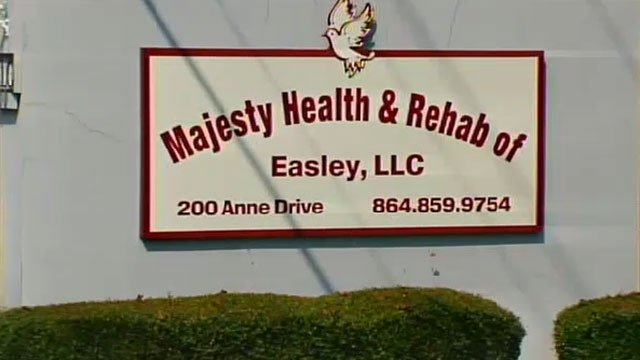 A sign indicates the location of Majesty Health and Rehab of Easley. (File/FOX Carolina)