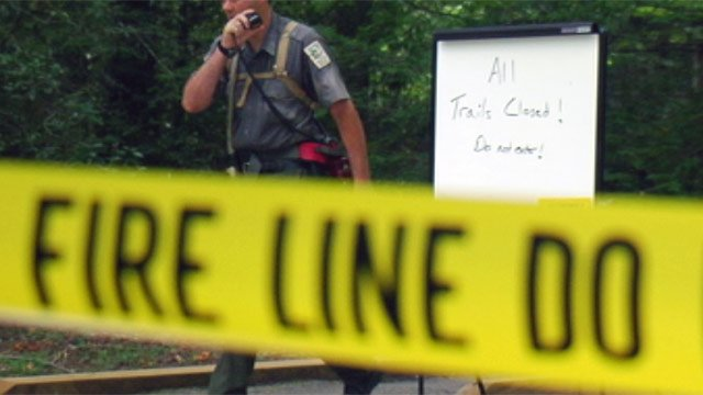 Officials closed the trails after lightning sparked a fire at the park. (July 8, 2012/FOX Carolina)