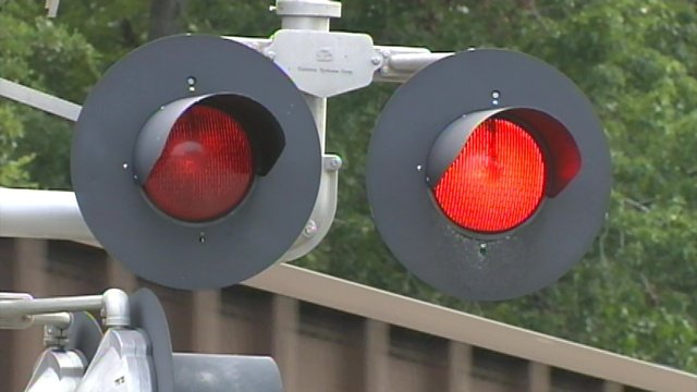 A train crosses at a railroad crossing in Greenville County. (File/FOX Carolina)