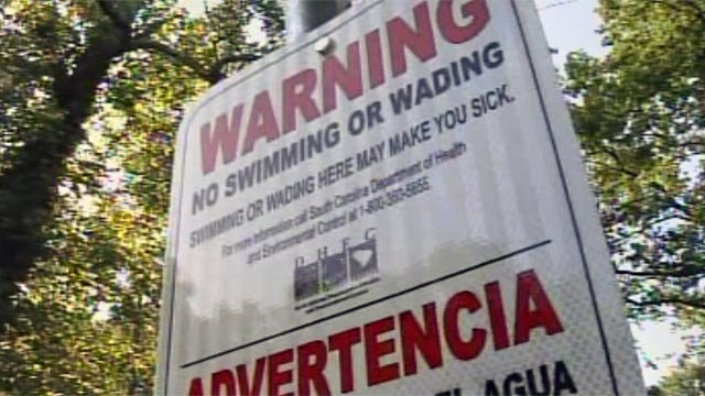 DHEC has posted signs warning the public not to swim in the water. (July 9, 2012/FOX Carolina)