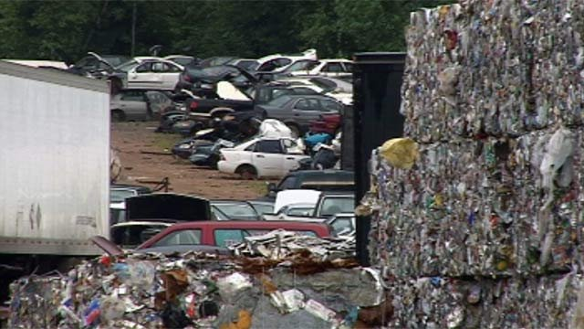 Adams Scrap Recycling crushes and sells cars for scraps. (July 10, 2012/FOX Carolina)