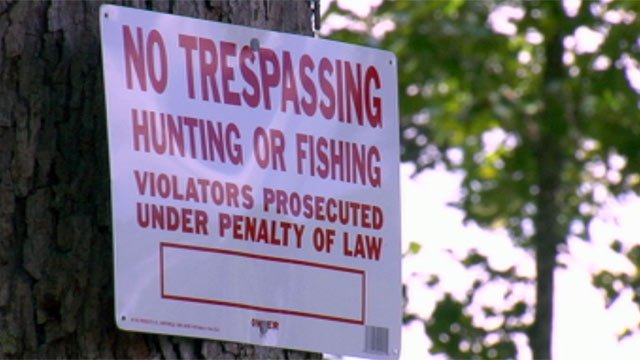 Ely says the no trespassing sign was posted after the shooting. (July 10, 2012/FOX Carolina)
