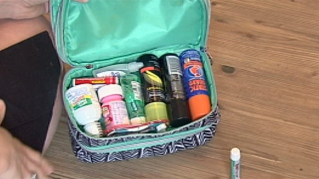 Alexandra Barham's wedding day survival kit. (July 10, 2012/FOX Carolina)