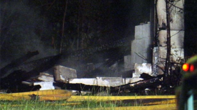What remained of an abandoned building after it caught fire. (July 12, 2012/FOX Carolina)
