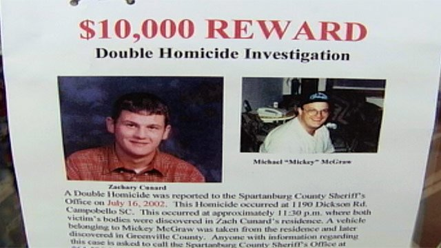 The reward flyer asking for info in Zachary Cunard and Mickey McGraw's deaths. (File/FOX Carolina)