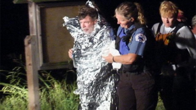 The missing kayaker Jeff Nichols is treated after being found. (July 16, 2012/FOX Carolina)