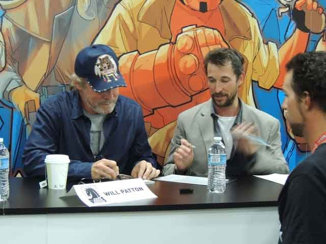 (L to R) Will Patton and Noah Wyle of TNT's Falling Skies as part of a cast signing for fans.