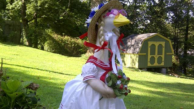 The new Lucy Allison the goose on display in a Travelers Rest woman's front yard. (July 17, 2012/FOX Carolina)