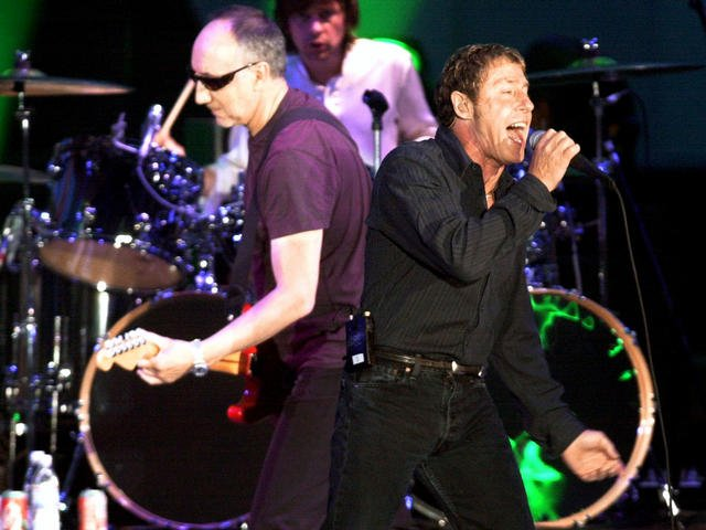 Pete Townshend (left) and Roger Daltrey of &quot;The Who&quot; perform. (July 1, 2002/AP Image)