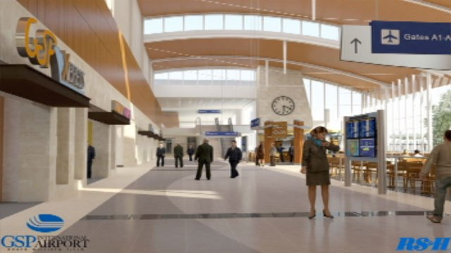 An artist rendering shows the new look of the pre-boarding area between the two GSP concourses. (GSP International Airport)