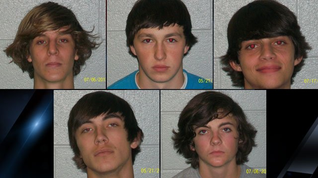 From upper left to lower right: Joseph Matthews, Lucas Christopher, Jacob Hudson, Tyler Galloway and Camen Mitchell. (Henderson Co. Sheriff's Office)