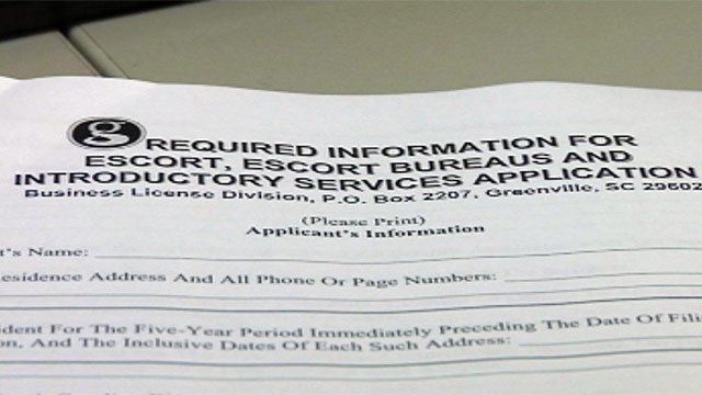 The city of Greenville's escort license application. (July 24, 2012/FOX Carolina)