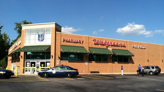 Deputies block the entrance to a Walgreens store after they say a meth lab was found inside. (July 26, 2012/FOX Carolina)