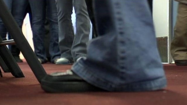 People stand in line at a South Carolina unemployment office. (File/FOX Carolina)