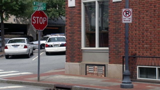 The area where police say a woman was beaten by a homeless man in downtown Greenville. (July 30, 2012/FOX Carolina)