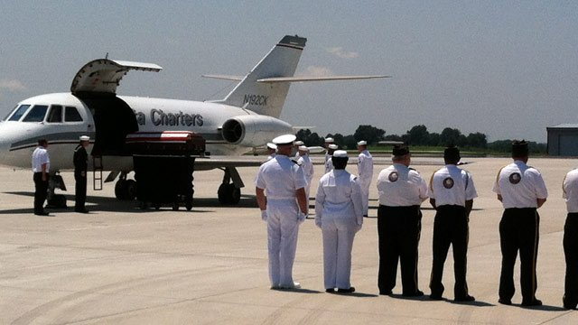 Sailor Michael Brodsky's body arrives at the airport. (Aug. 1, 2012/FOX Carolina)