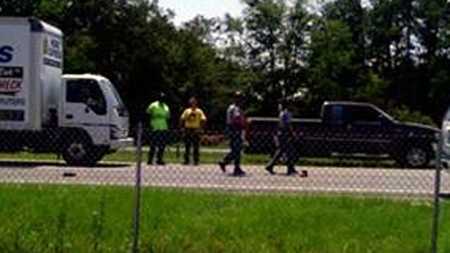 Troopers investigate the scene of a crash involving a pedestrian on Business I-85 in Spartanburg. (Aug. 2, 2012/FOX Carolina iWitness)